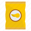 snack, crisp, potato, food, chip, package, pack icon