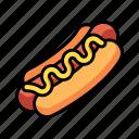 food, meat, sausage, mustard, american, hot, dog