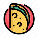 fast, fast food, food, meat, mexican, restaurant, taco icon