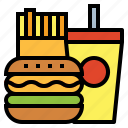 burger, cola, fast food, french fries, junk food icon