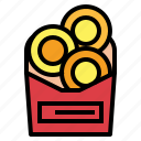 fast food, junk food, onion rings, snack icon