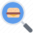 burger, catering, fast, food, public, search icon