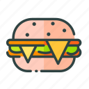beverage, burger, cheese, food, restaurant, unhealthy icon
