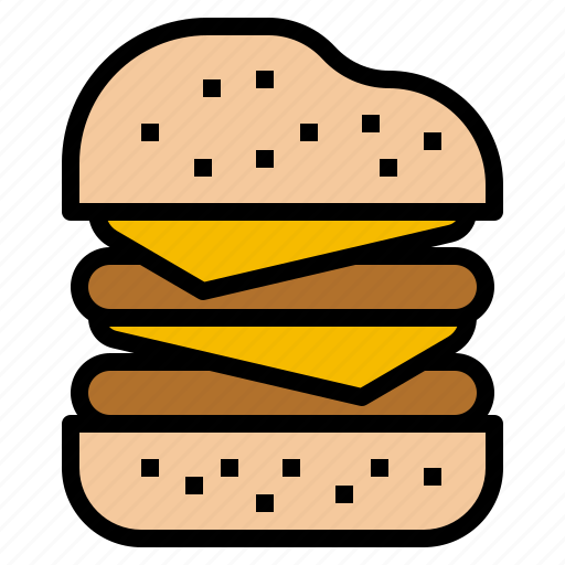 cheeseburger, double, fast, food, restaurant icon