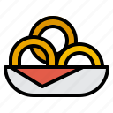 fast, food, onion, rings, snack icon