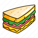 bread, food, ham, sandwich icon