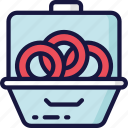 eating, fast food, meal, onion, rings, take away icon