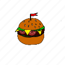 bread, breakfast, burgers, cheese, fast food, food collection, ham icon