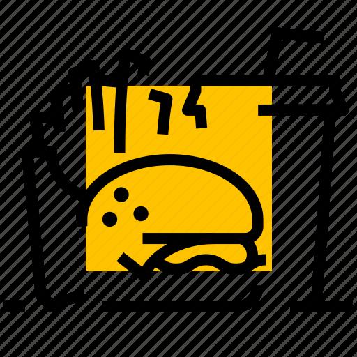 burger, drink, fastfood, fries, menu icon