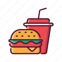 fast, food, burger, soda, drink