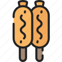 corn, dogs, eating, fast food, sauces, take away icon