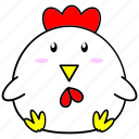 cartoon, chinese, cock, cute, fat, horoscope, zodiac icon