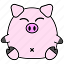 cute, chinese, horoscope, fat, pig, zodiac, cartoon