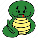 cartoon, chinese, cute, fat, horoscope, snake, zodiac icon