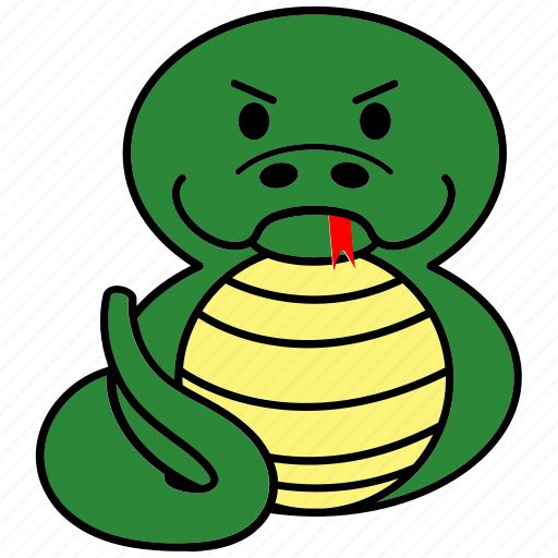 Cartoon, chinese, cute, fat, horoscope, snake, zodiac icon - Download on Iconfinder