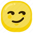 arrogant, emoticon, expression, happy, smile icon