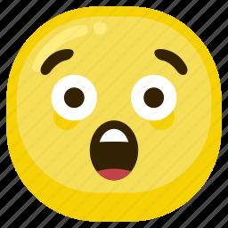 emoticon, expression, shock, smiley, suprised icon