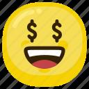 dollar, emoticon, happy, money, money-oriented, rich icon