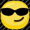 arrogant, beach, emoticon, smile, style, sun, sunglasses icon