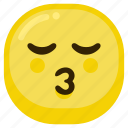 cute, dear, emoticon, fun, happy, kiss, smile icon