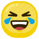 cry, emoticon, happy, laugh, laughing, smile icon