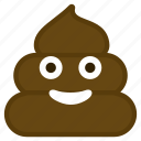 dirt, emoticon, happy, poop, smile icon