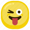 emoticon, fad, laugh, smile, smiley, tongue icon