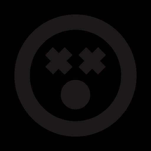 crazy, dead, emoji, emojis, emoticons, shocked, thick lines icon