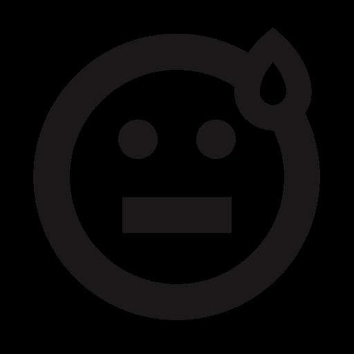 emoji, emoticon, emoticons, faint, nervous, sweat, thick lines icon