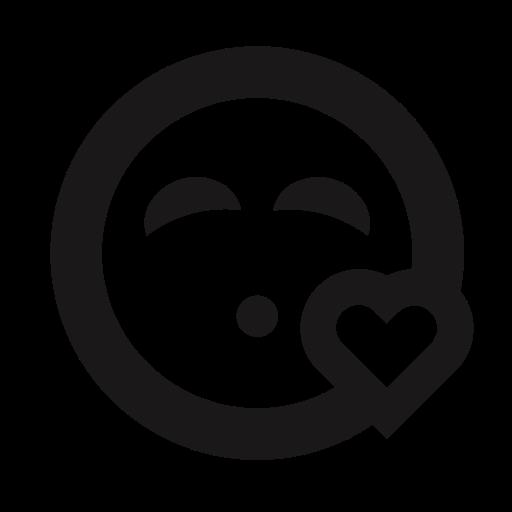 emoji, emoticon, heart, kiss, kissy face, love, thick lines icon