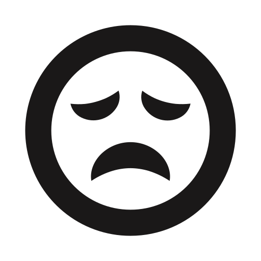 deflated, emoji, emoticons, sad, scarred, thick lines icon
