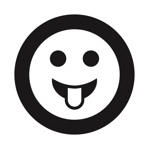 clown, emoji, emoticon, happy, silly, sticking out tongue, thick lines icon