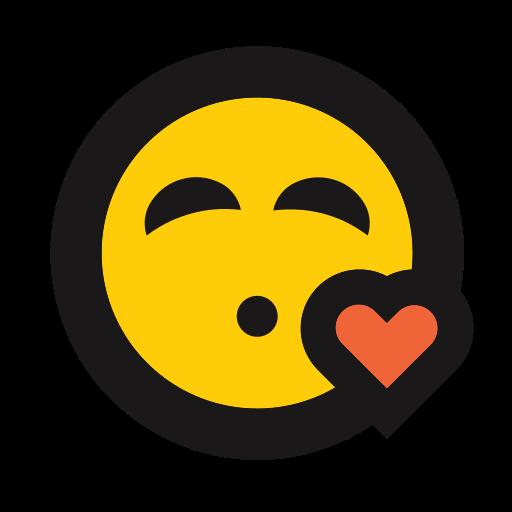 emoji, emoticon, heart, kiss, kissy face, love icon
