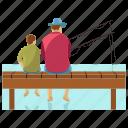 dad son, fatherhood, fish catching, fishing, picnic icon