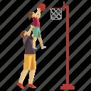 basketball game, dad playing, father daughter, fatherhood, playing basketball icon