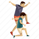 child play, child rearing, dad son, fatherhood, jumping icon