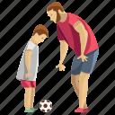 child playing, fatherhood, football, playing football, teaching football icon