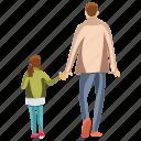 fatherhood, child rearing, dad daughter, daughter walking, parent icon