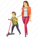 child playing, child rearing, kid scooty, motherhood, playing scooty icon
