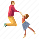 child rearing, fatherhood, kid dancing, kid support, physical fitness icon