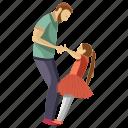 child rearing, dad daughter, dad playing, fatherhood, kid games icon