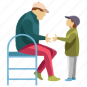 child entertainment, child rearing, fatherhood, outdoor point, picnic icon