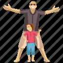 child entertainment, child fun, dad playing, outdoor fun, picnic icon