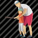 child playing, dad playing, fatherhood, learning baseball, playing baseball icon