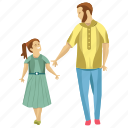 child rearing, daughter dad, father care, fatherhood, parent walking icon