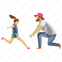 child running, dad daughter, dad support, father love, parent icon