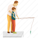 dad son, fatherhood, fish catching, picnic icon