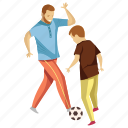 dad playing, father son, fatherhood, football game, playing football icon