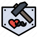 day, fathers, hammer, mustache icon