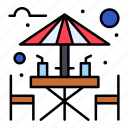 alcohol, area, bar, beach, drink, sitting icon